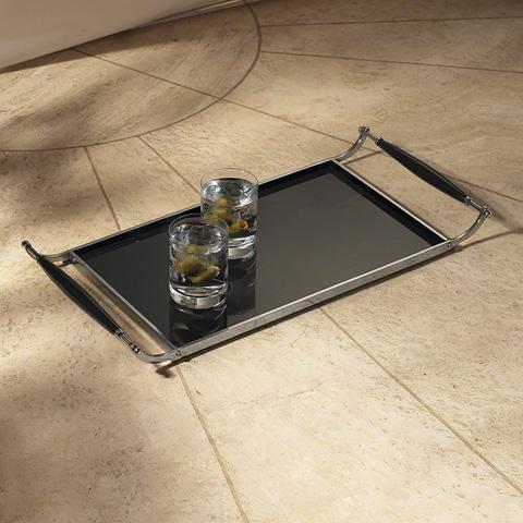 Global Views - Black Tray with Wood Handles - 9.90454