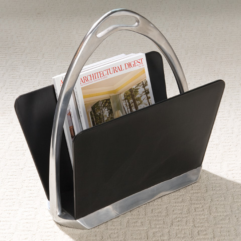 Global Views - Black Leather Stirrup Magazine Dump - 9.90476