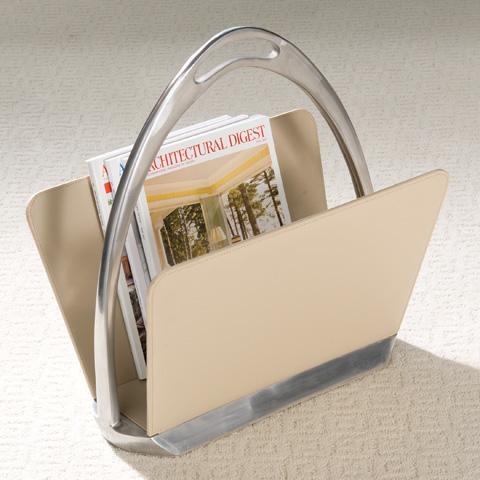Global Views - Beige Leather Stirrup Magazine Dump - 9.90496