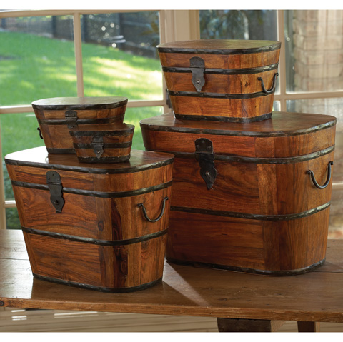Global Views - Set of 5 Wood & Iron Boxes - 9.90597