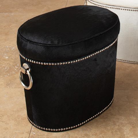 Global Views - Angus Black Cowhide Ring Bench - 9.91243