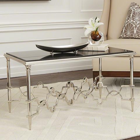 Global Views - Black Granite Quatrefoil Rectangular Table - 9.92219