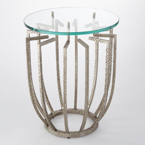 Global Views - Hammered Nickel Spoke Table - 9.92235