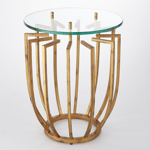 Global Views - Hammered Gold Spoke Table - 9.92236