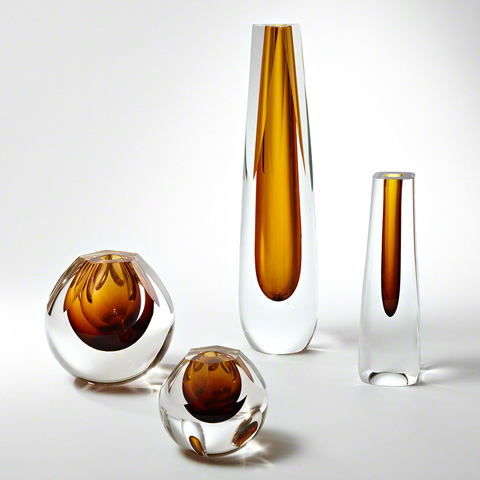 Global Views - Triangle Cut Glass Vase - 6.60269