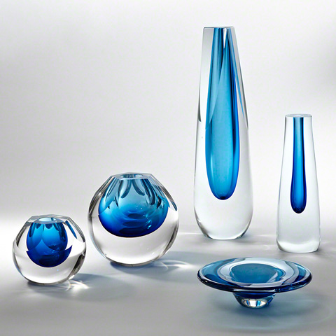 Global Views - Triangle Cut Glass Vase - 6.60274