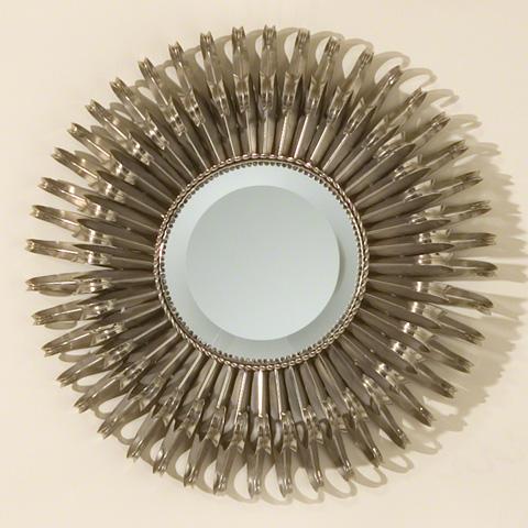 Global Views - Round Nickel Sunburst Mirror - 8.80468