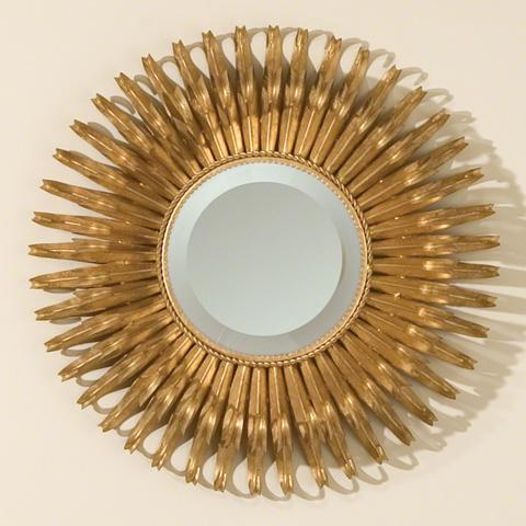 Global Views - Round Gold Leaf Sunburst Mirror - 8.80470