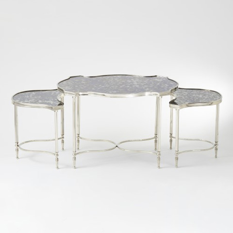 Global Views - Set of 3 Cartouche Nesting Cocktail Tables - 8.82137