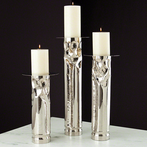 Global Views - Arts and Crafts Nickel Candleholder - 9.91566