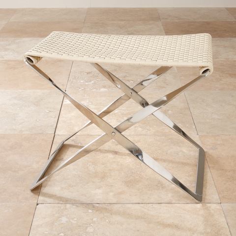 Global Views - Woven Leather Folding Bench - 9.91660