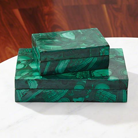Global Views - Malachite Stone Box - 9.92374