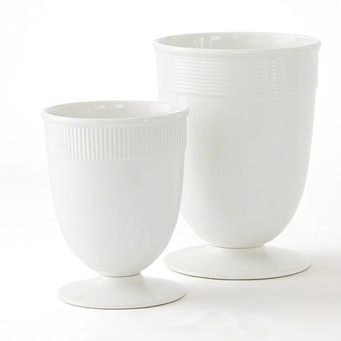 Global Views - Small Banded Ceramic Vase in White - BB-ZW2470GW