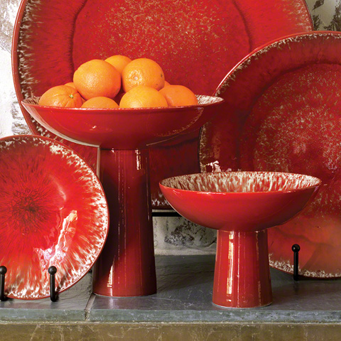 Global Views - Red Zinger Footed Bowl - 3.31059