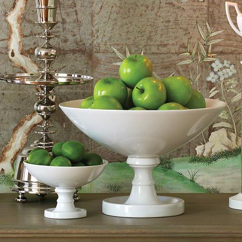 Global Views - White Pedestal Bowl - 8.81716
