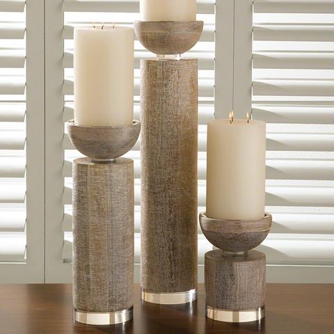 Global Views - Scratched Pillar Candleholder - 9.91042