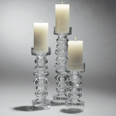 Global Views - Glass Ribbed Candleholder - 1522