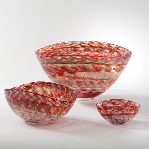 Global Views - Red Swirl Oval Bowl - 3.31202