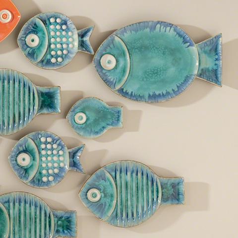 Global Views - Blue Fish Plate - 8.80733