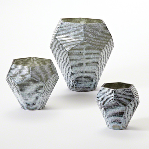 Global Views - Faceted Stria Vase - 8.81986