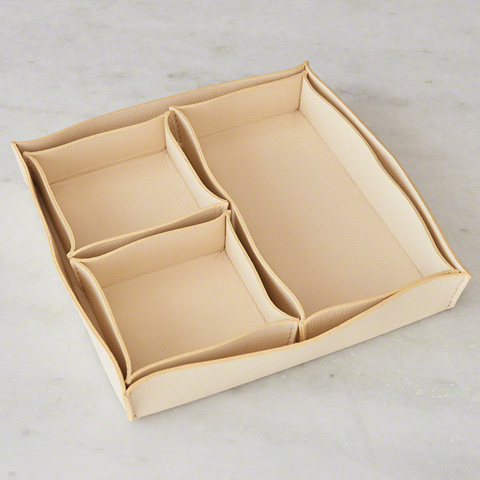 Global Views - Set of Four Leather Cache Trays - 9.92593