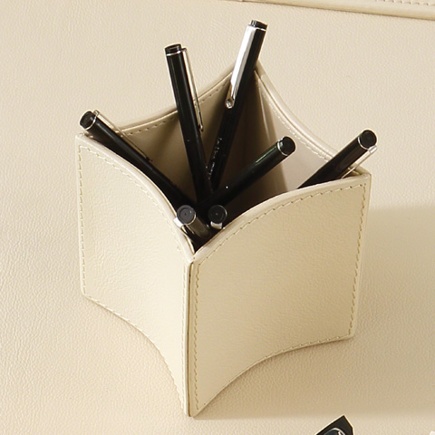 Global Views - Folded Leather Pencil Cup - 9.92598