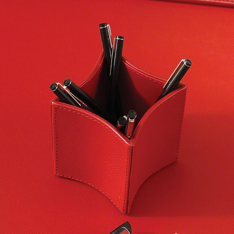 Global Views - Folded Leather Pencil Cup - 9.92603