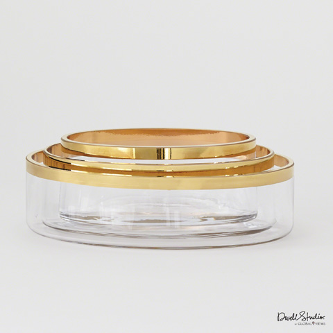 Global Views - Set of Three Gold Band Oval Bowls - D6.60044