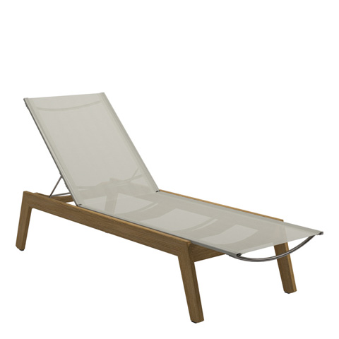 Image of Solana Sling Chaise Lounger with Wheels
