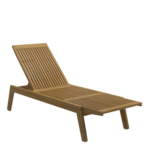 Gloster - Solana Teak Chaise Lounger with Wheels - 1855