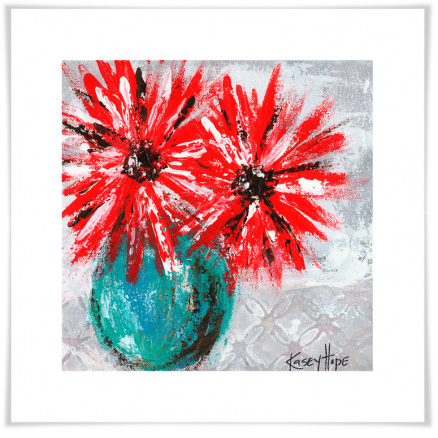 Image of Red Flowers on Gray Artwork