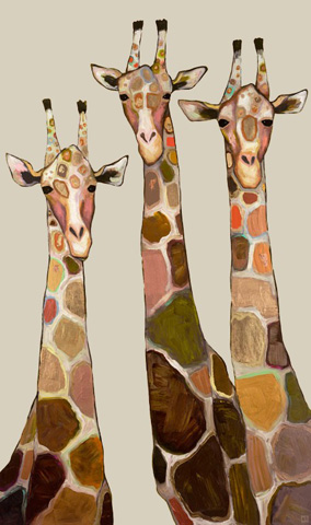 Image of Three Giraffes on Cream Art