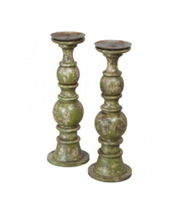 Guildmaster - Hand Carved Candlesticks-Set Of 2 - 304001S