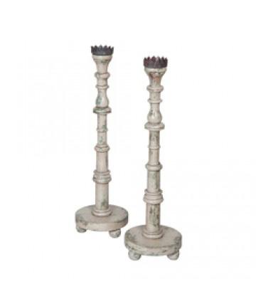 Guildmaster - Hand Carved Candlesticks-Set Of 2 - 304002S