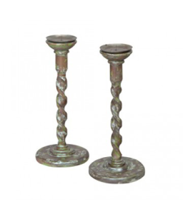 Guildmaster - Hand Carved Candlesticks-Set Of 2 - 304003S