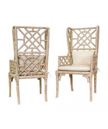 Guildmaster - Pair of Bamboo Wing Back Chair - 657530PCR