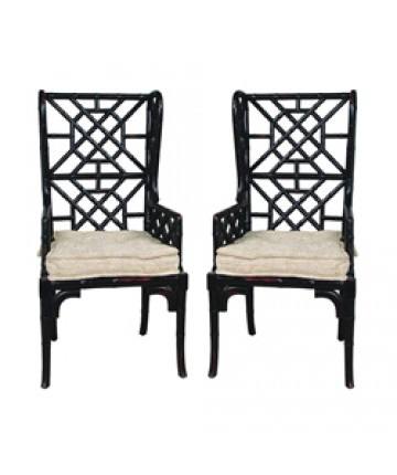 Guildmaster - Pair of Bamboo Wing Back Chair - 659522PWMLB