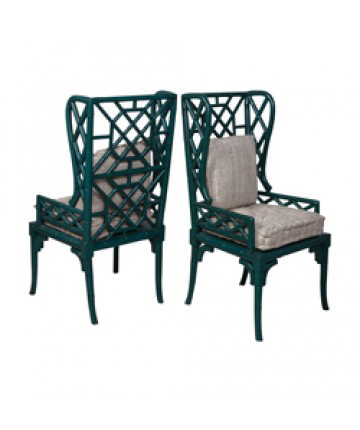 Image of Pair of Bamboo Wing Back Chair