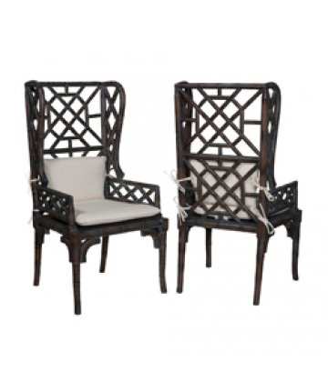 Guildmaster - Pair of Bamboo Wing Back Chair - 694516P