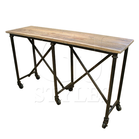 GJ Styles - Elm and Iron Console with Cross Base - CS04