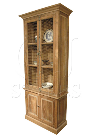 GJ Styles - Pine Four Door Bookcase with Mesh Panels - CS10