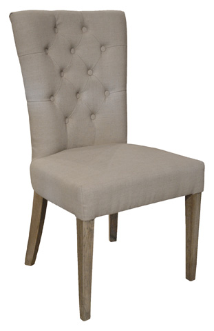 GJ Styles - Linen Dining Side Chair with Tufted Back - AH07