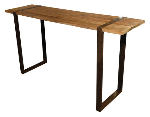 GJ Styles - Elm and Iron Console with Square Base - CS01