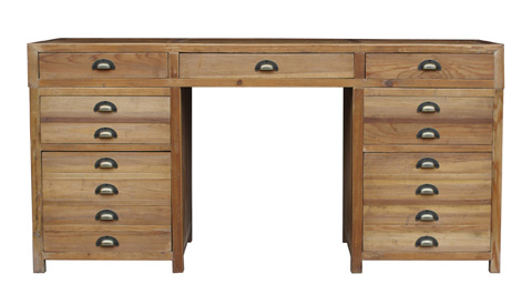 GJ Styles - Pine Desk with Bin Pulls and File Drawers - CS32