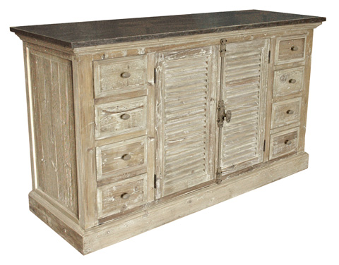 GJ Styles - Stone Top Server with Louvered Doors - LD50-OL