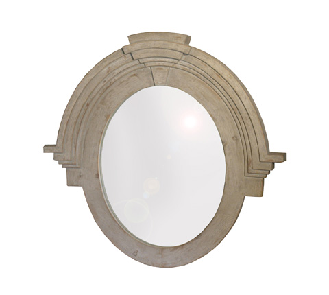 GJ Styles - Carved Oval Mirror in Distressed Grey - RA09