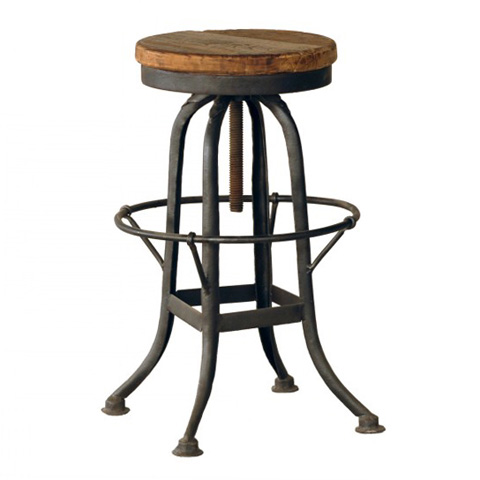 GJ Styles - Iron Base Stool with Wooden Seat - RP39