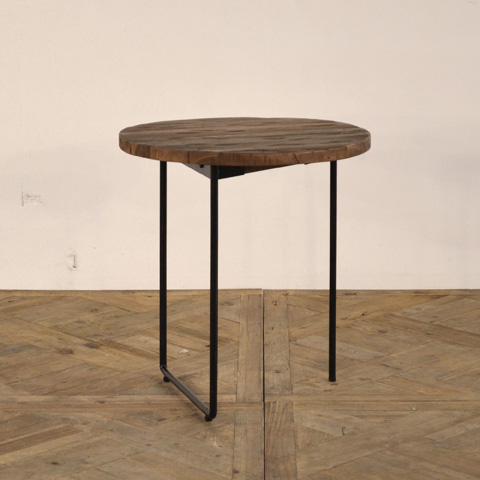 GJ Styles - Reclaimed Teak and Iron Side Table - DB03