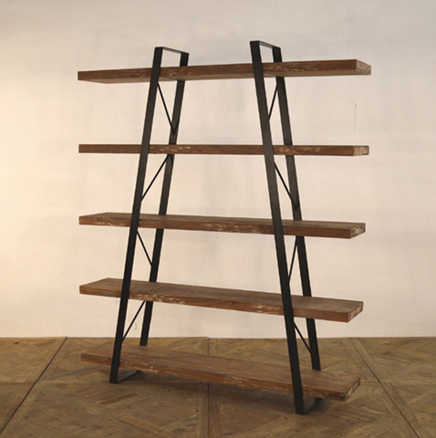 GJ Styles - Reclaimed Teak and Iron Bookcase - DB07
