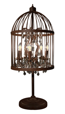 GJ Styles - Voliere Rustic Iron and Crystal Table Lamp - RL29
